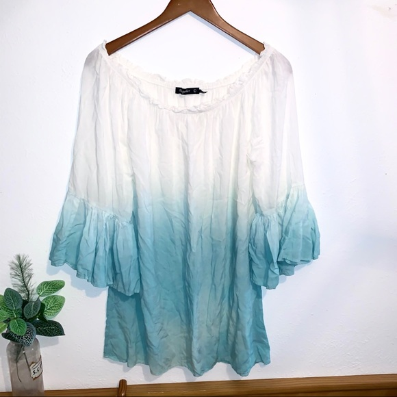 By Together Tops - 3/4 Sleeve Ombré Light Blue Blouse w/ bell sleeves